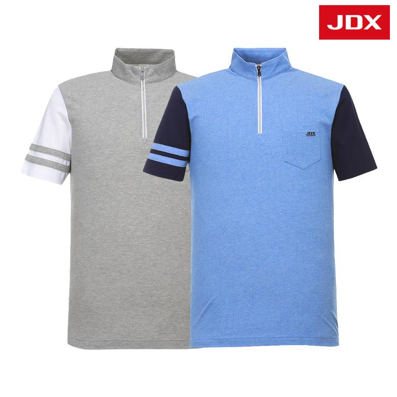 (남성)소매배색 자카드 하프넥 티셔츠_X2PMTSM04