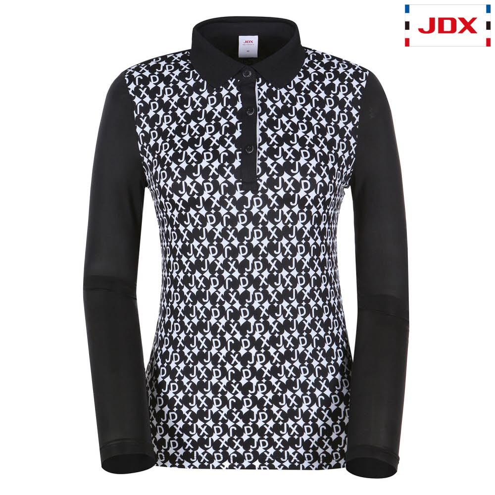 (여성)앞전판 프린트 긴팔 티셔츠_X1QMTLW54-BK