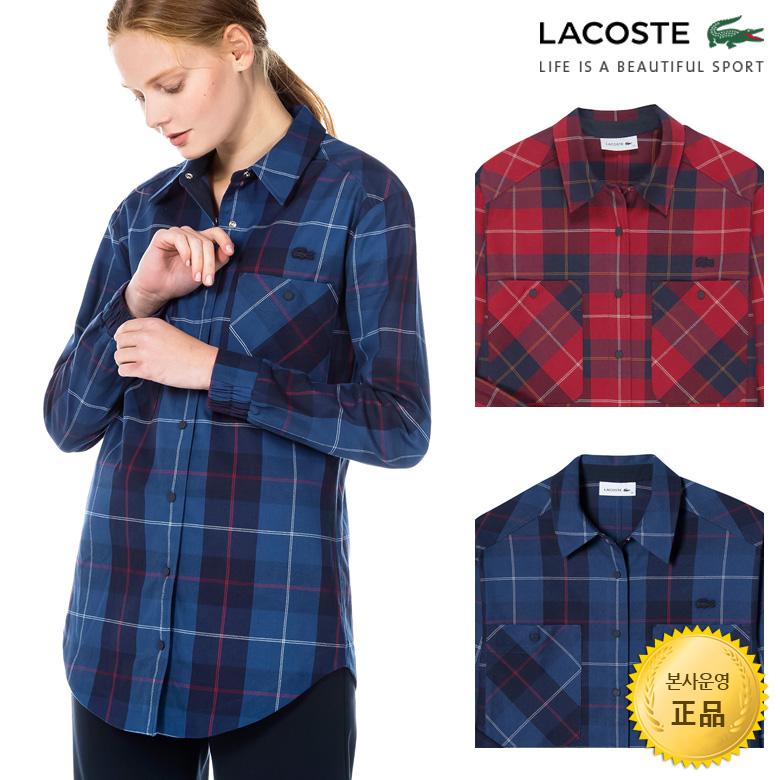 (여성)스트레치 코튼 캔버스 체크 셔츠_CF8932-18C
