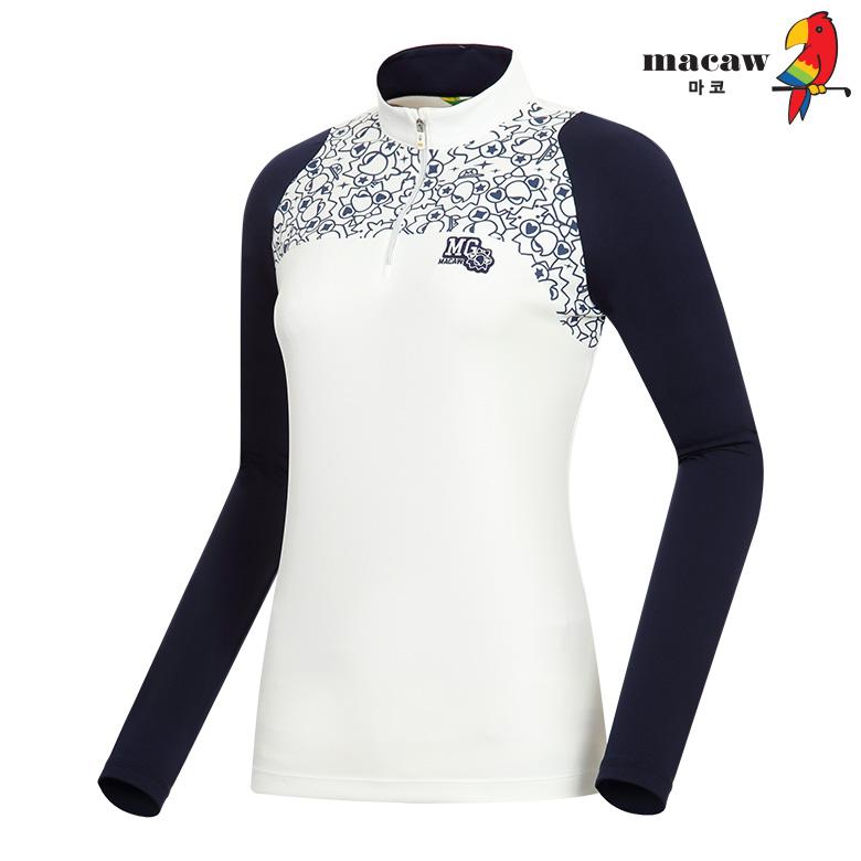 (여성)로고프린트 소매 배색 반집업 티셔츠_MHW3TH62