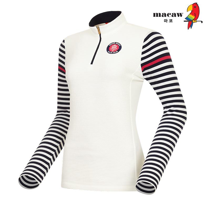 (여성)소매 스트라이프 패턴 배색 반집업 티셔츠_MHW4TH05