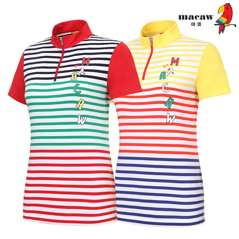 (여성)스프라이프배색포인트반집업 반팔 티셔츠_MIW2TH06