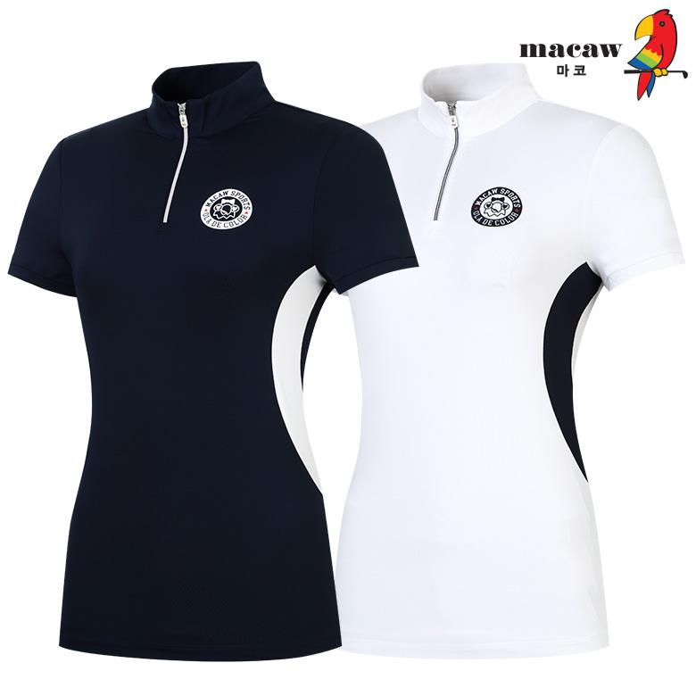 (여성)허리라인 배색 반집업 티셔츠_MIW2TH60