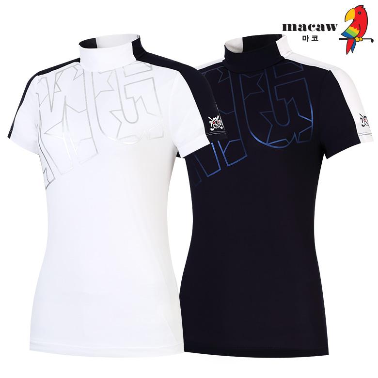 (여성)은박 프린트 숄더 배색 반목 티셔츠_MIW2TH63