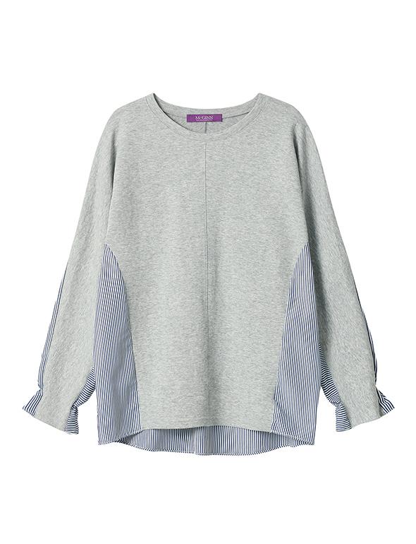 스트라이프 배색 티셔츠_MJS1TS6540